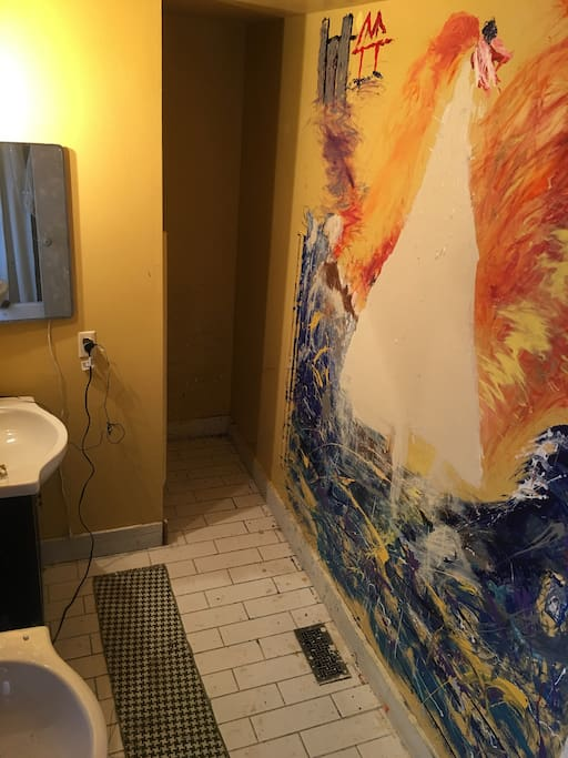 Oil painted bathroom wall