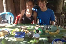 Smiles are common during lunch at 'Finca Don Mincho.'