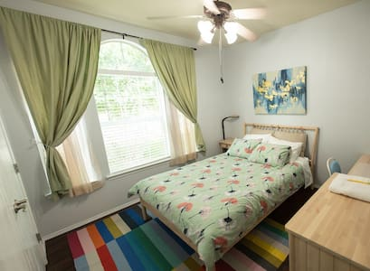 Private bedroom located near major highways.^
