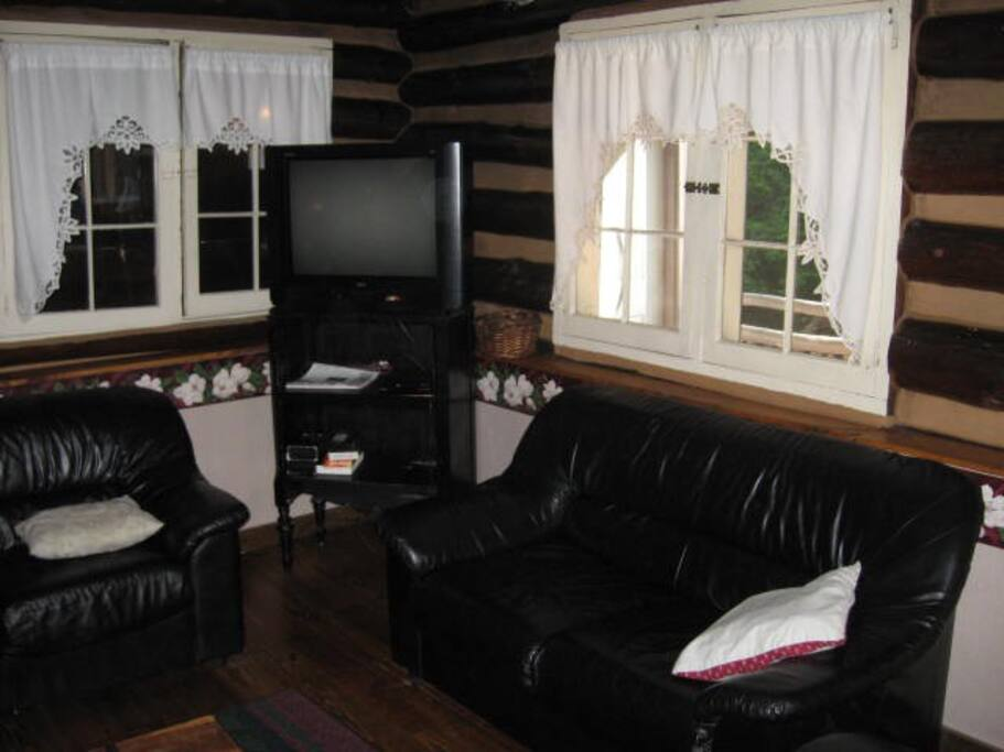 Living Room area is authentic log cabin.