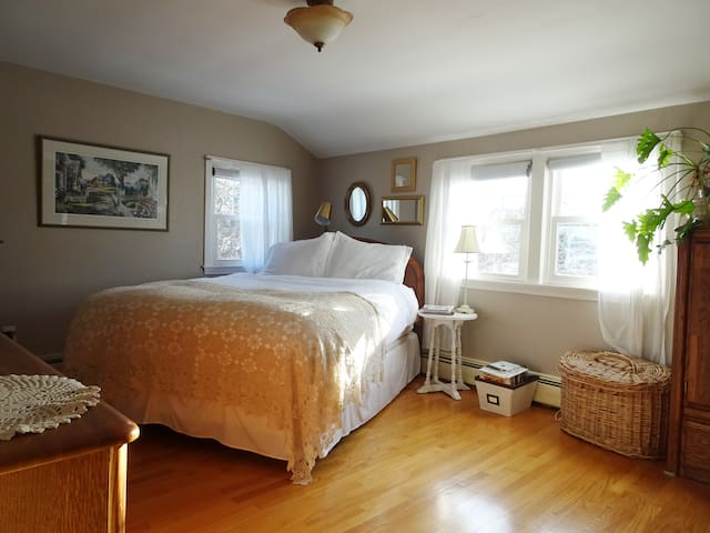 Master bedroom with a queen bed.