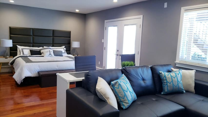 A king size bed with a firm memory foam mattress for a good night rest and a convertible sofa bed for additional guest.  ***QUIET HOURS inside the house and outside of the house is 11PM - 6AM EVERY DAY.