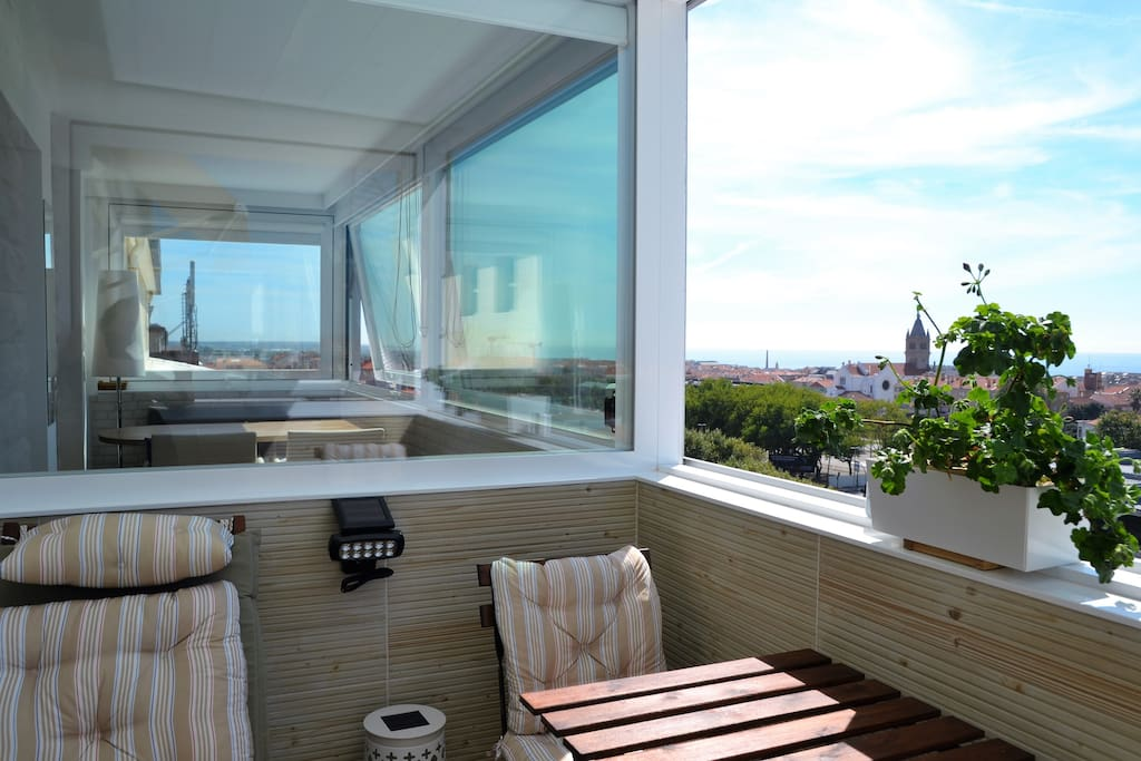 cosy balcony with panoramic sea view