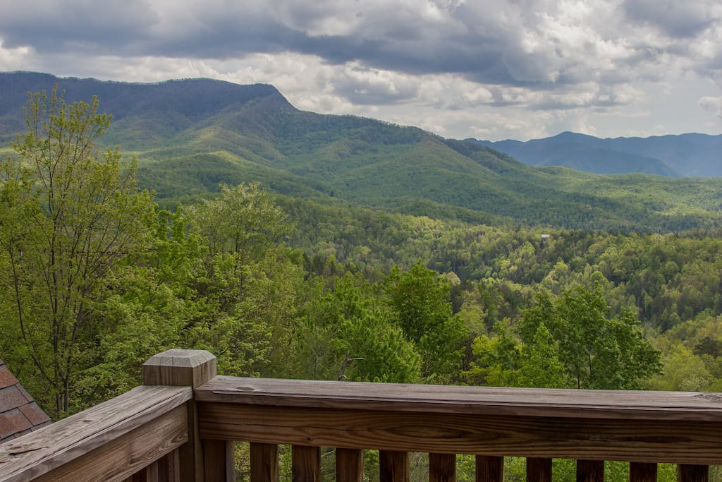 Sit on the deck and take in this stunning view of the mountains!