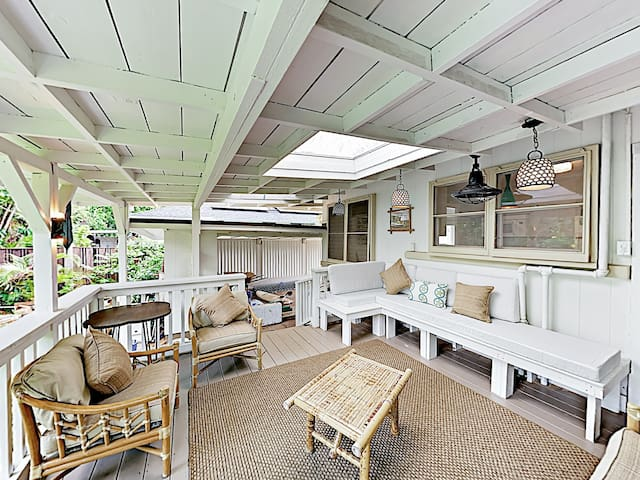 The spacious covered lanai with ample seating is an ideal venue to gather for social time.