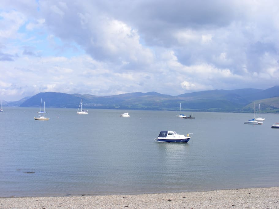 Beautiful Menai Straits looking over from Beaumaris to the main land