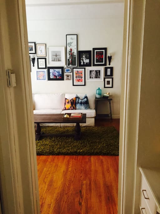 A prominent hallway creates nice private space between all rooms in the home, adding extra privacy for the bedroom.