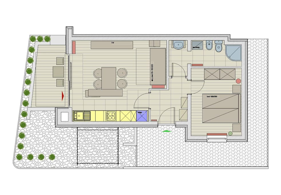 ground floor of the apartment