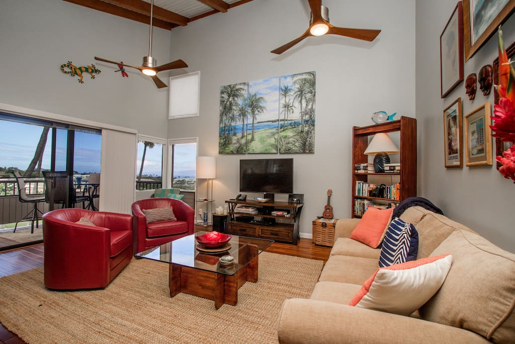 Large open living room with vaulted ceilings, incredible views