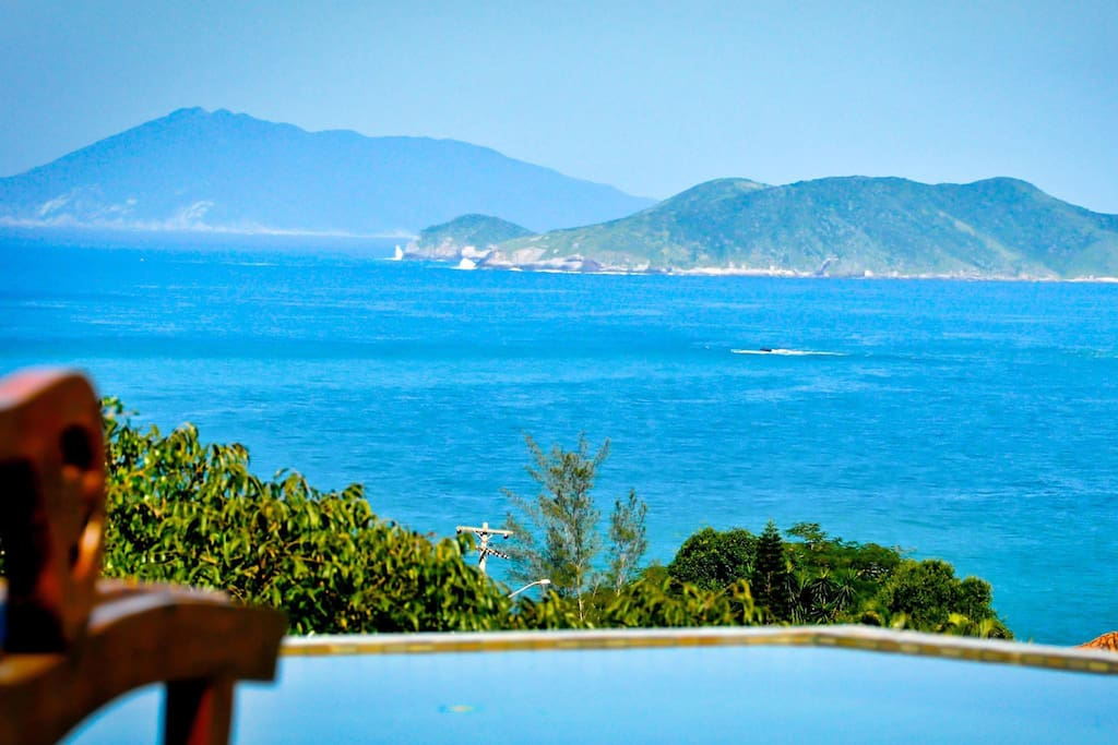 Stunning panoramic ocean views of Buzios peninsula and beaches, from your very own patio, balconies and pool