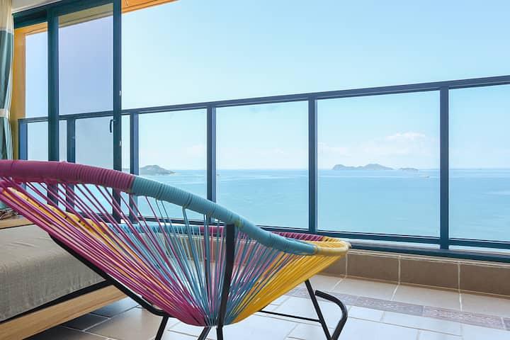 惠州万科双月湾32楼一线海景两房一厅套房