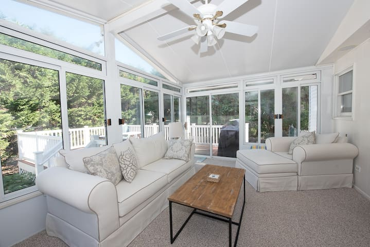 Sun room addition with ceiling fan
