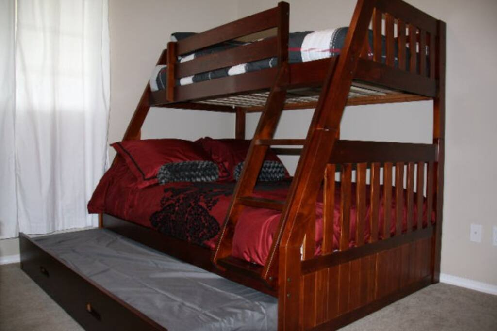 2nd Bedroom boasts a twin over double bunk with a twin trundle pull out