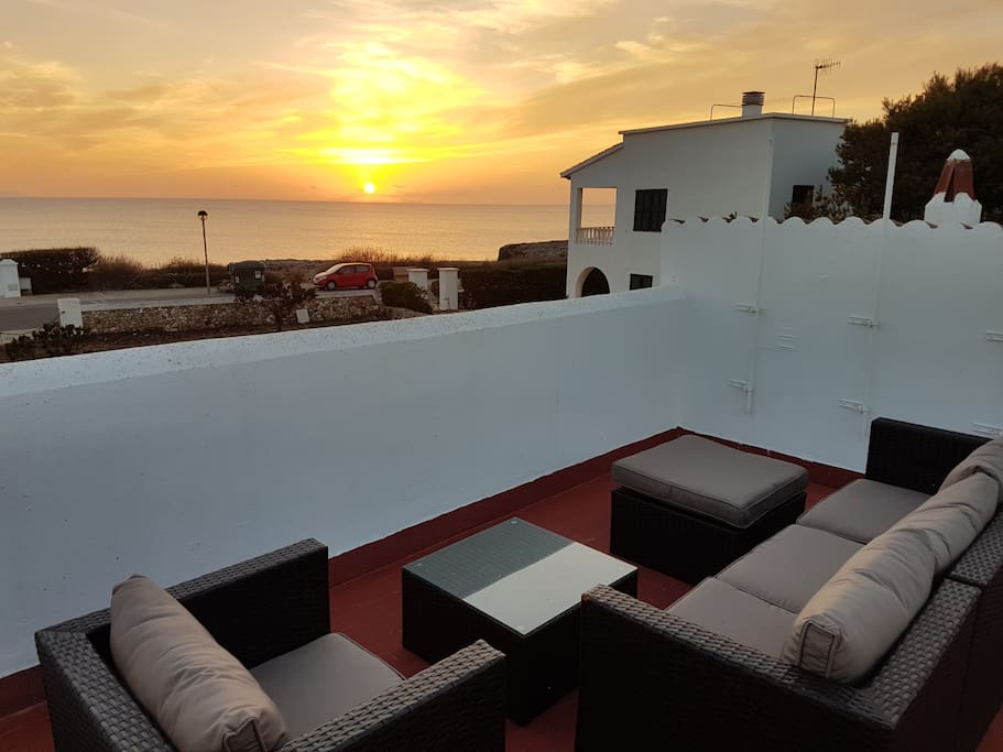 Rooftop lounge with sea view and sunset view