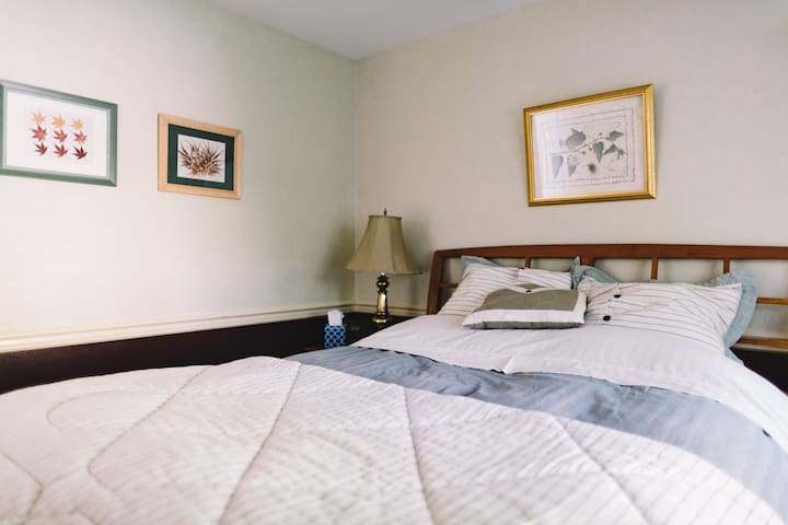 A downstairs bedroom w. queen size bed