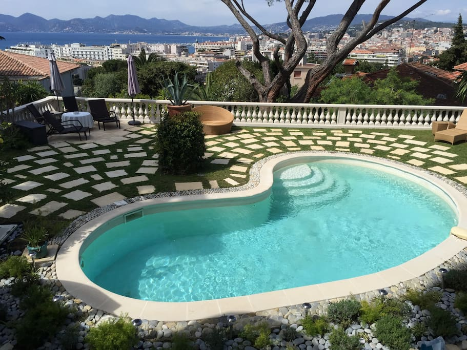 Panaramic view of Cannes and Garden