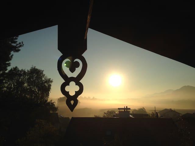 Sonnenaufgang, von der Ferienwohnung aus gesehen