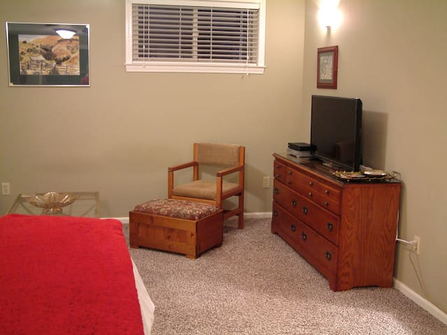The television and VD player, chair and ottoman.