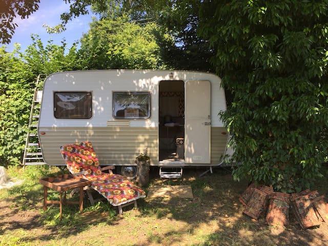 Caravane vintage 1974 ...collector ...  Petit havre de paix ...dans un jardin . Petit déjeuner possible , panier picnic , Déjeuner , dîners ....selon vos envies ... (Paiement en sup)  Lit bébé, chauffe bib   Possibilité lavage Parking  Apiculteur , coutel