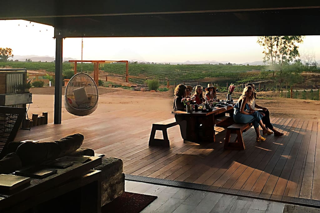 Guests often gather on the back deck at sunset and in the morning