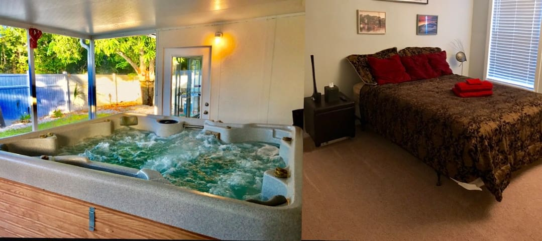 Jacuzzi, Comfy Bed and relaxing environment.