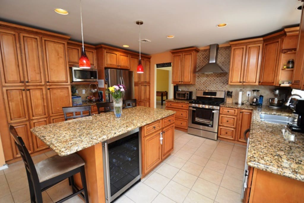 Updated kitchen with wine cooler