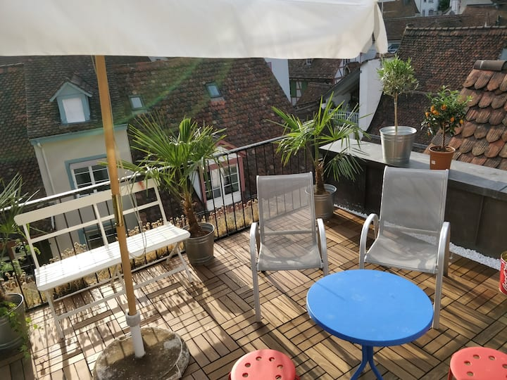 Central 3-room maisonette with roof terrace