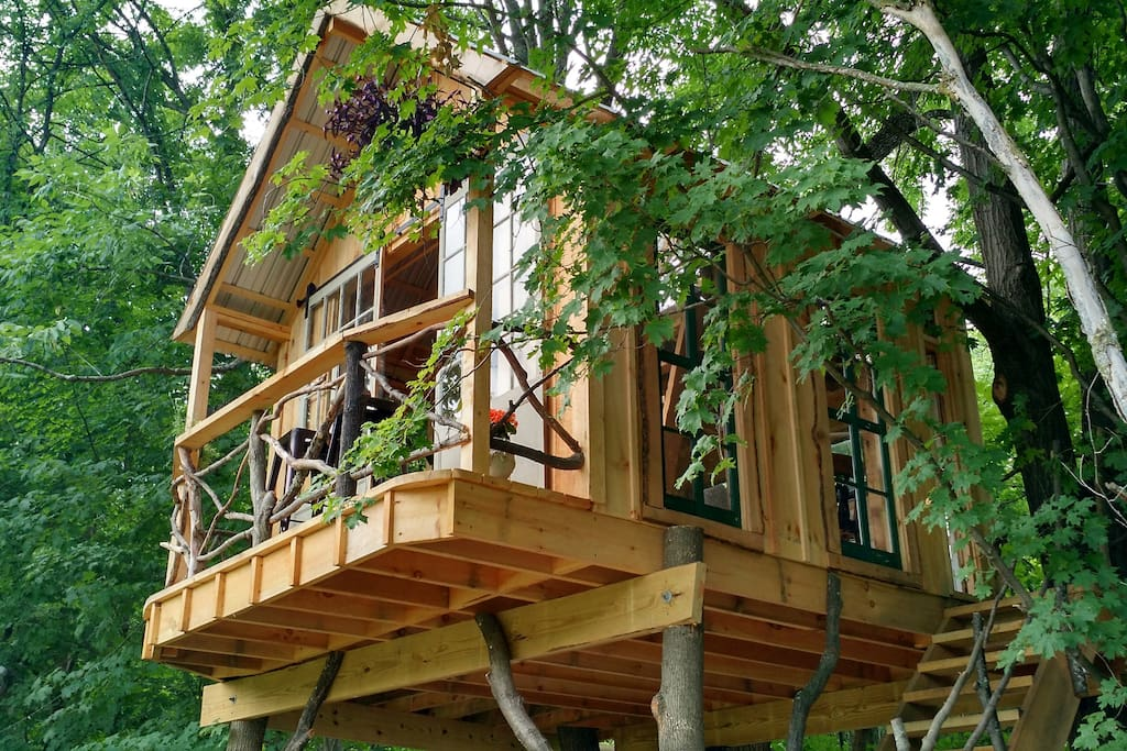 Treehouse set in back of open field, nestled in, and among the trees! Listen to the wind, the pitter patter of rain in the metal roof, and immerse yourself in the beauty of your natural surroundings...