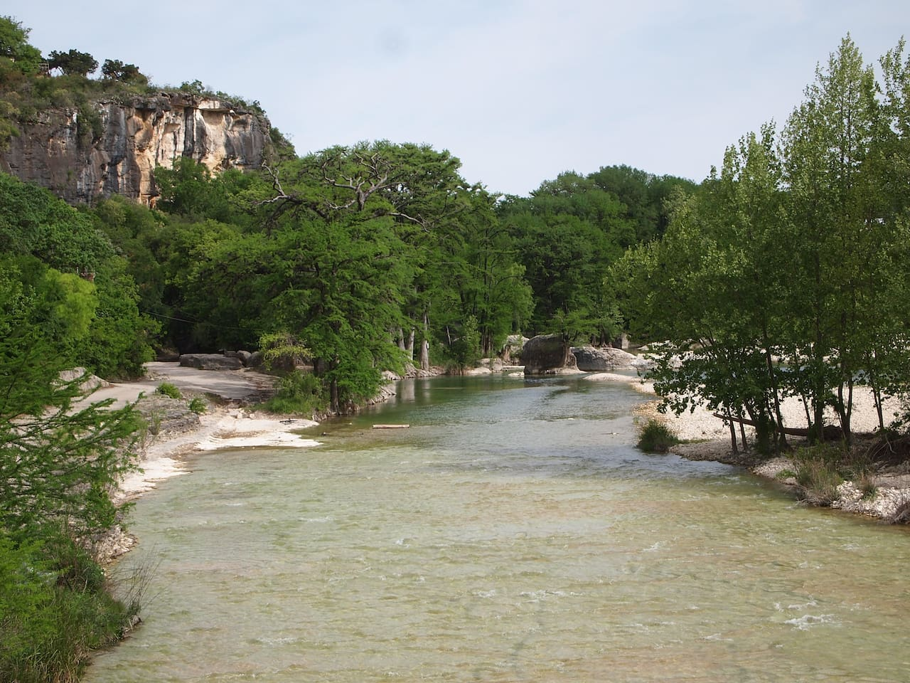 Access is on the East side of the Frio River at the 1st Crossing on Hwy 127 which is a short walk from the cabin on the highway.  Most people drive.