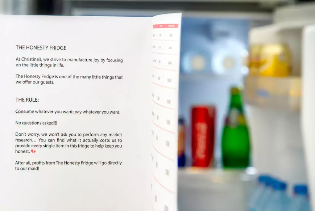 Our Honesty Fridge - consume what you want, pay what you want! All proceeds are handed to our lovely cleaning staff
