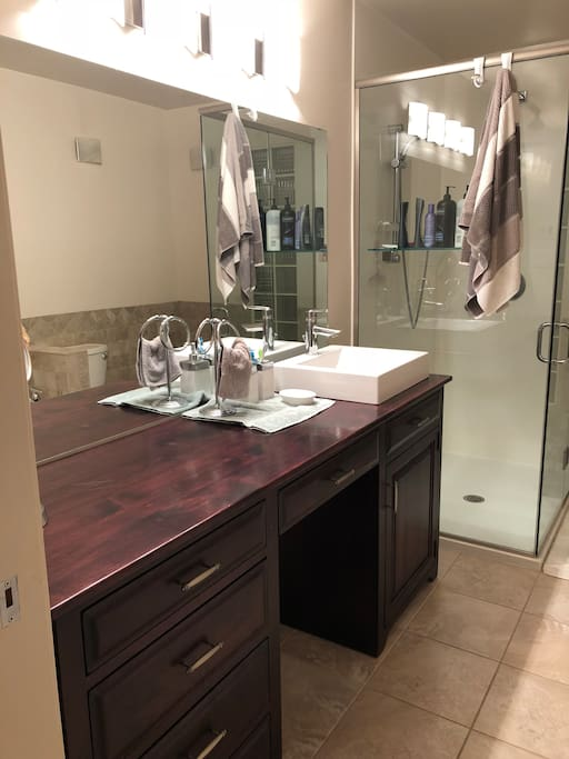 Shared bathroom in the main floor. Glass surround shower and large vanity.