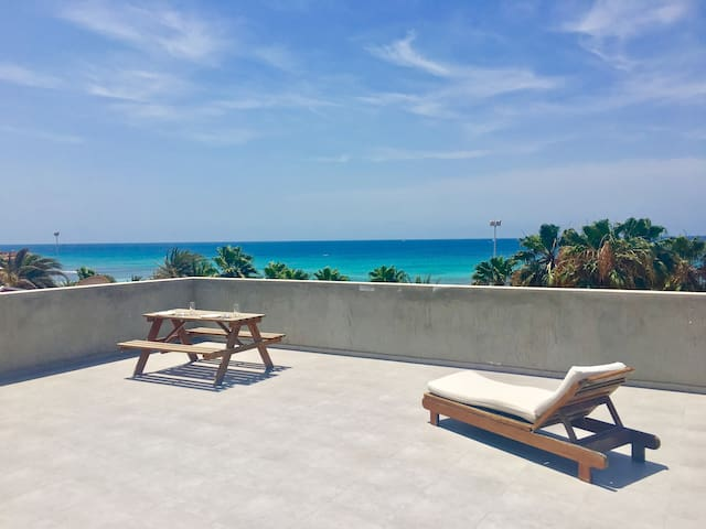 Our Rooftop Terrace with Amazing Ocean Views - where you can watch the sunrise while drinking coffee, soak up some Vitamin D, or have a dinner and drinks while watching the sunset!