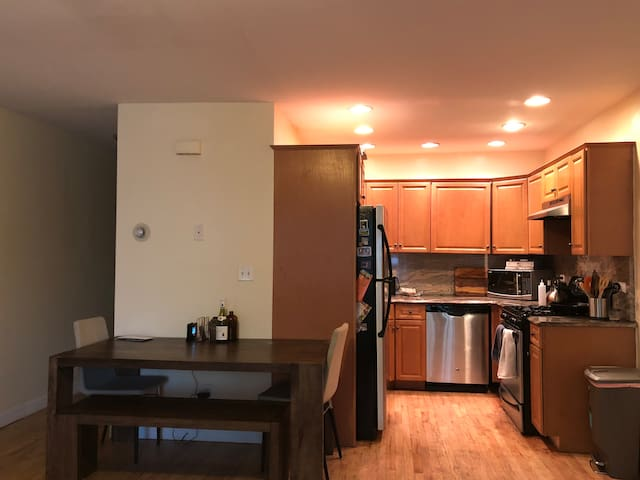 Shared dining room and kitchen