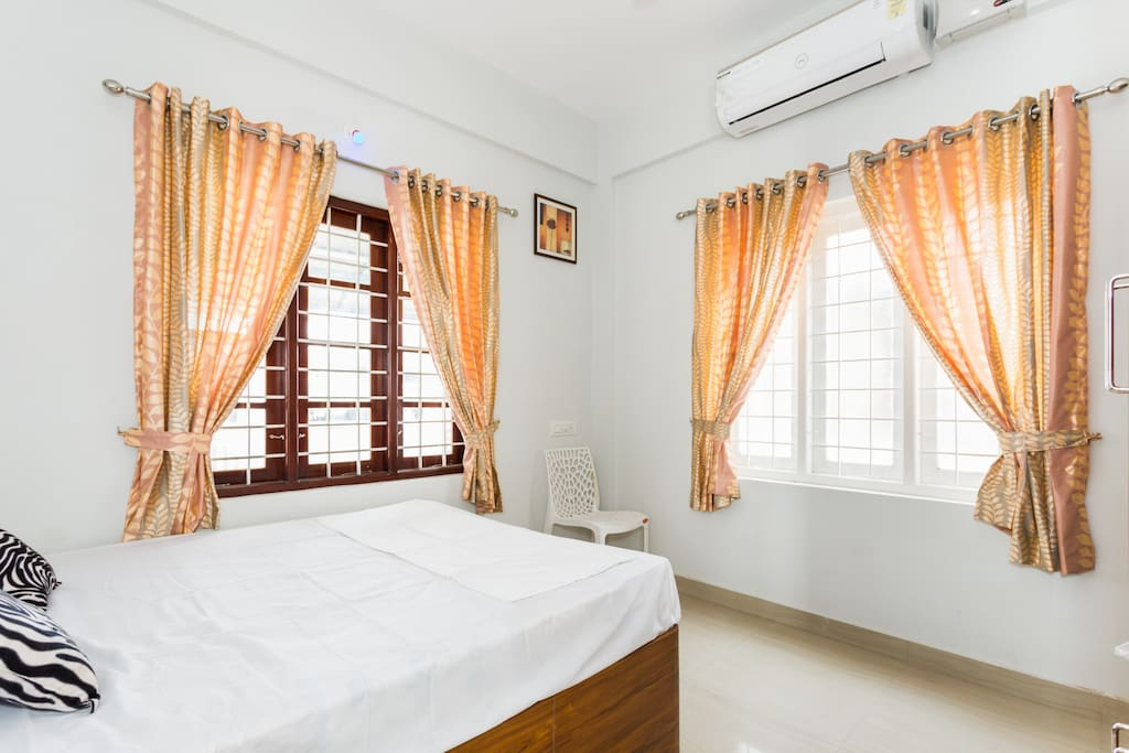 Air conditioned room with windows to let in natural light