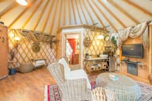 Comfortable seating inside the yurt