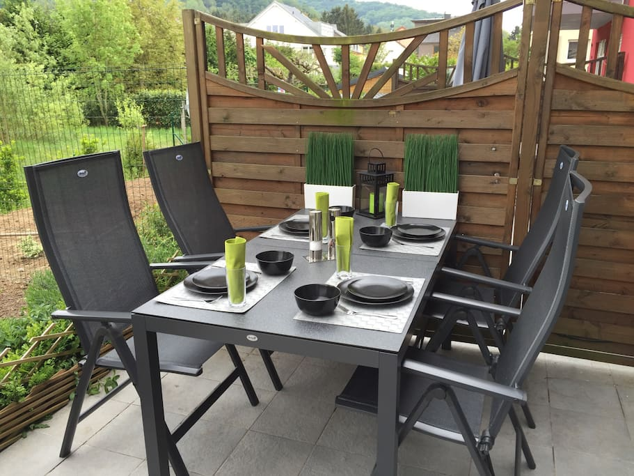 Terrasse incl. BBQ where you can either enjoy breakfast in the morning or having a nice dinner