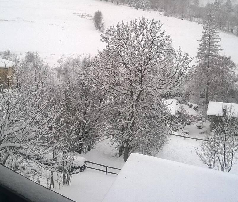 Vu du balcon en hiver avec la neige
