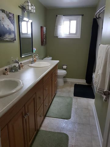 Large double sink vanity with tub & shower