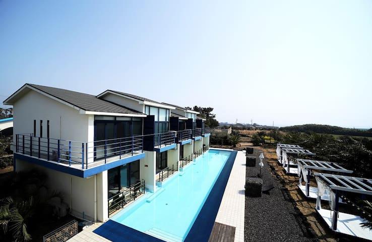 야자수 풀빌라펜션(복층20평 1층에서 수영장과 바로 이어지는 유럽형 풀빌라 펜션)