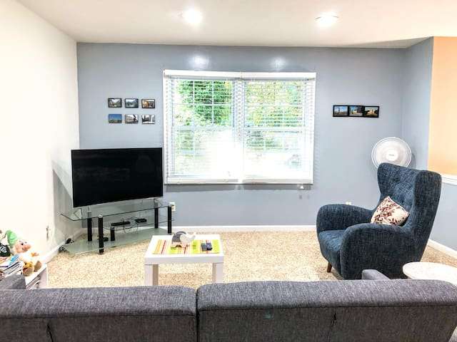Living room with 49-inch high-def tv loaded with cable channels