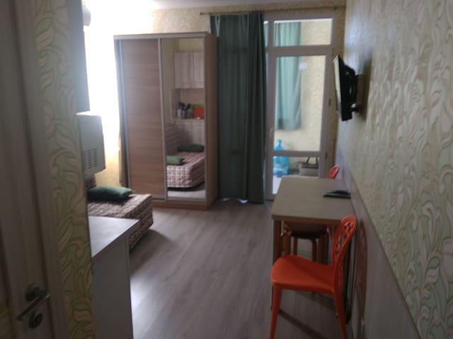 Зал 16 кв.м. с двухспальным местом и кухонной зоной