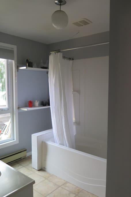 Washroom with shower/bath