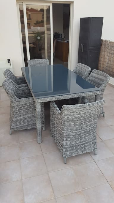 New Rattan table & Chairs - Outside. Alfresco