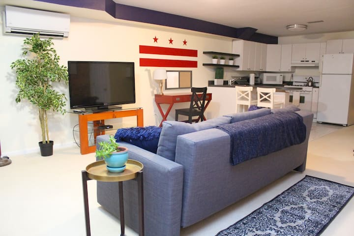 Relax and watch TV in the main living area.