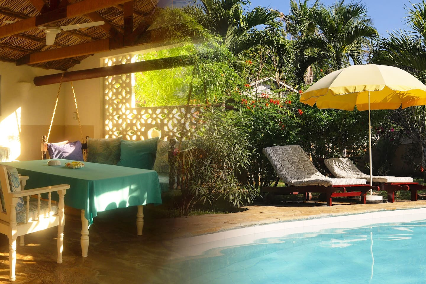 Yin&Yang-designed pool, spacious terrace with two ventilators... karibuni to our small paradise