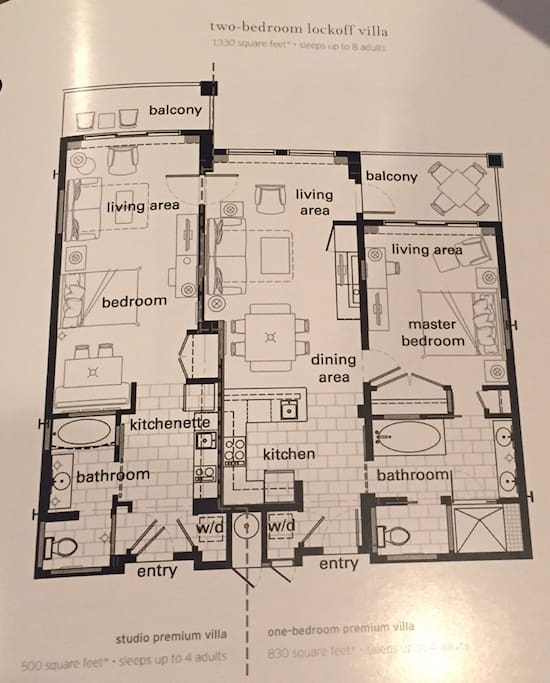 Villa layout - 1330 square feet, sleeps up to 8 people