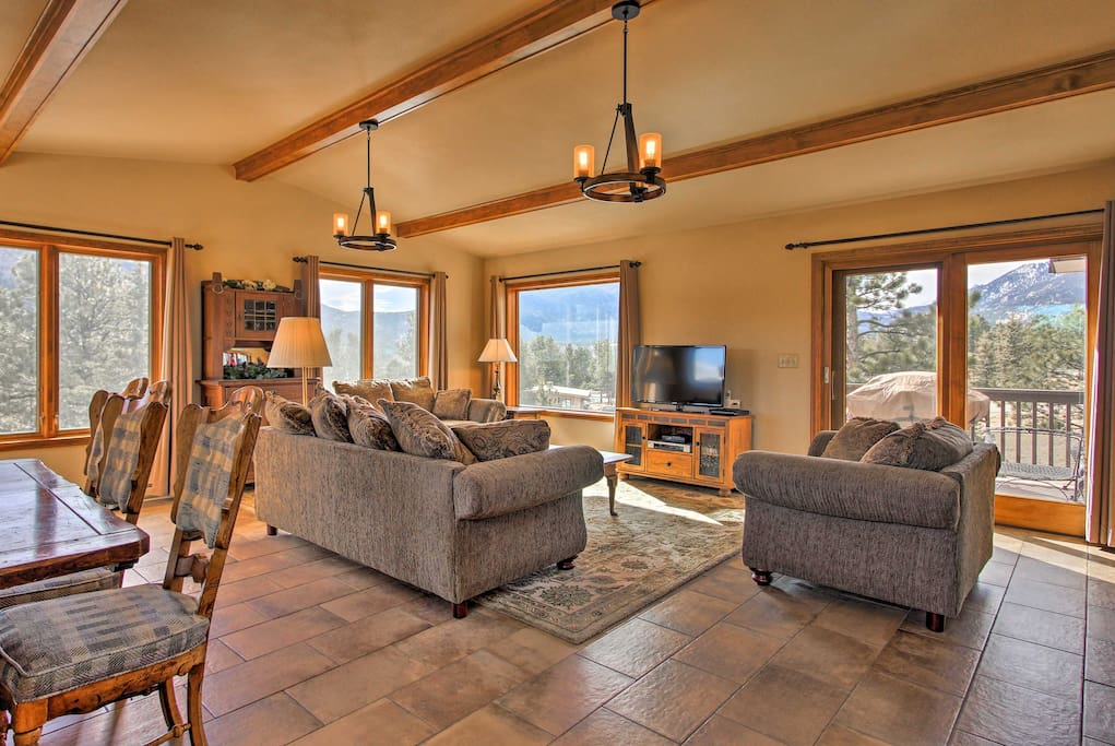 This 3,000-square foot home boasts mountain views and accommodations for 10!