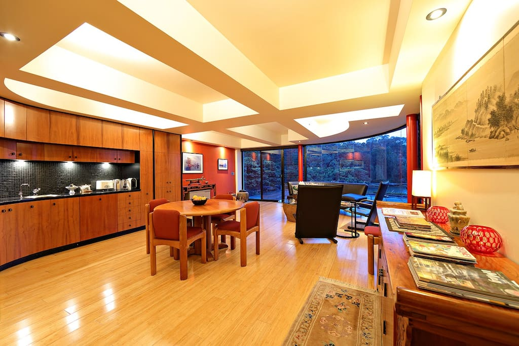 Spacious living, dining, kitchen early evening