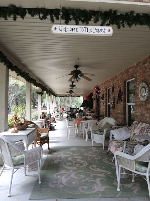 We enjoy our porch on warm days and rainy days. It's a great place to curl up with a book or to take a nap. We also have a table provided, where you can have your own little picnic.