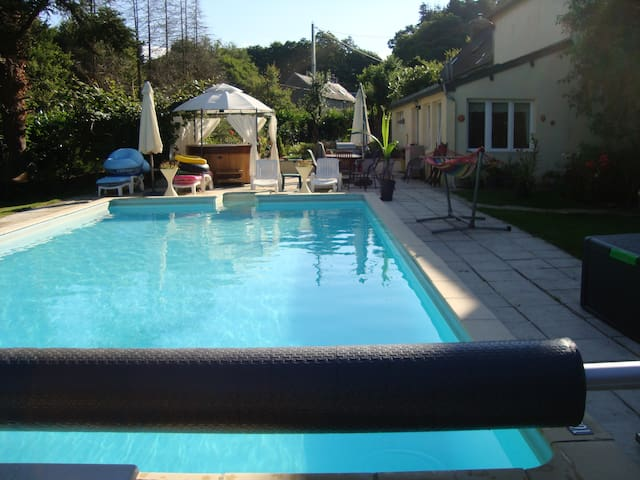 Gite With Heated Swimming Pool, Hot Tub - Langonnet - Villa